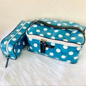 {Kate Spade} Polka Dot Waterproof Makeup Case Set
